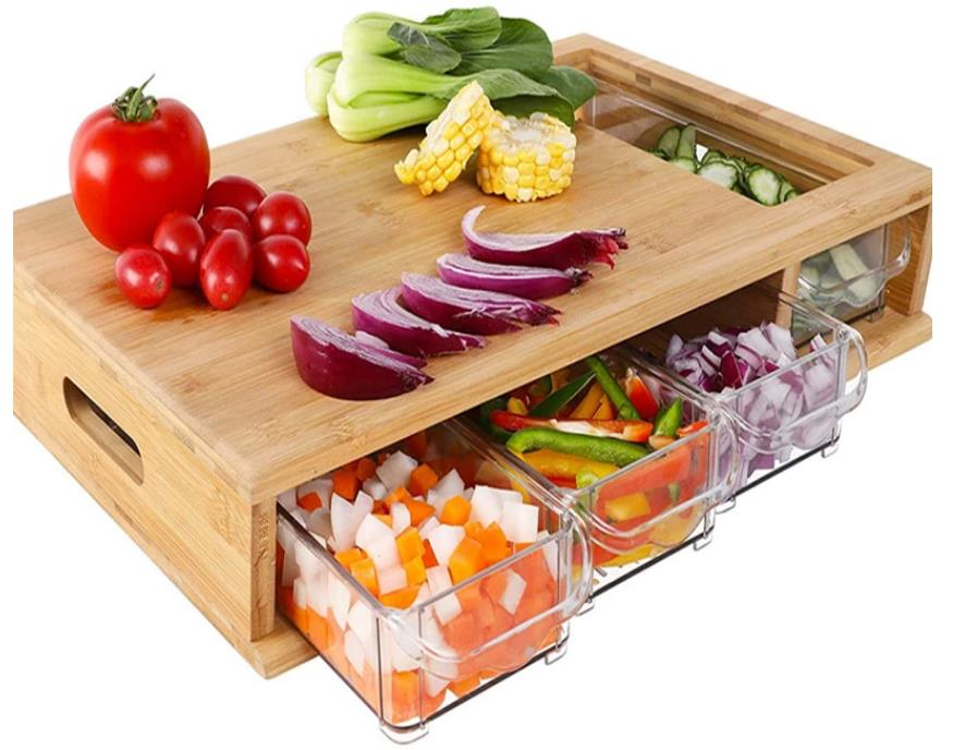 Large Cutting Board with Storage for Kitchen Bamboo Chopping Board with 4 Slilding Storage Drawer Trays Box